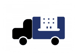 Icon for Apartment Movers, illustrated by a truck carrying an apartment building