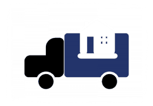 Icon for Residential Movers, illustrated by a truck carrying a house