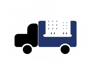 Icon for Office Movers, illustrated by a truck carrying an office building