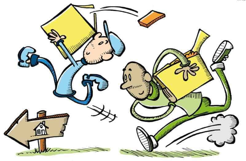 Cartoon of two movers carrying boxes toward a new home