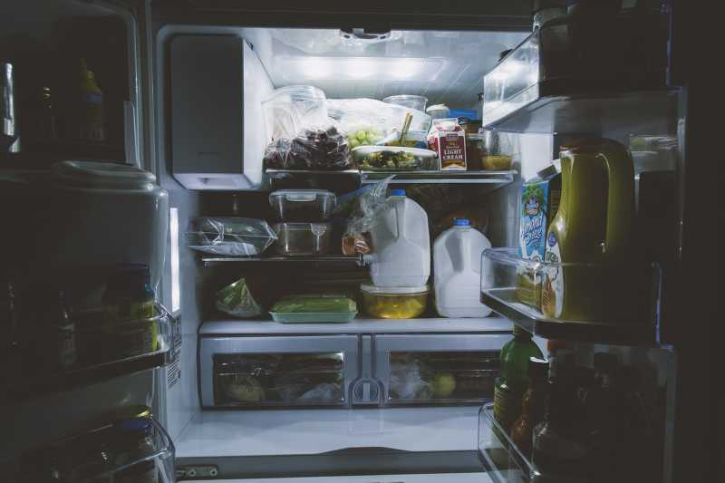 Inside view of a refrigerator full of food
