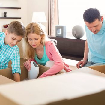 A family packing for a short-term move