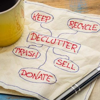 "Napkin with the words ""declutter, keep, recycle, trash, sell, donate"""