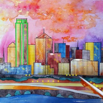Watercolor artwork of the Dallas TX skyline
