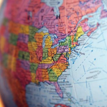 Photo of a globe zoomed in on the United States